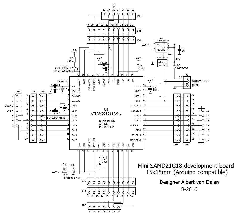 sam 15x15 arduino zero compatible samd21 board from avandalen on tindie