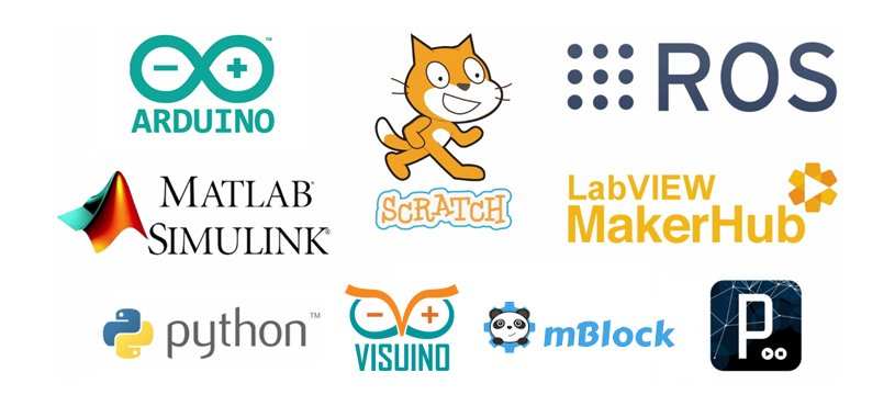Arduino, Scratch, ROS, Matlab, LabVIEW