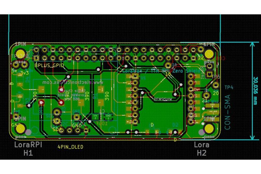 Raspberry PI0W Lora Shield with I2C and OLED