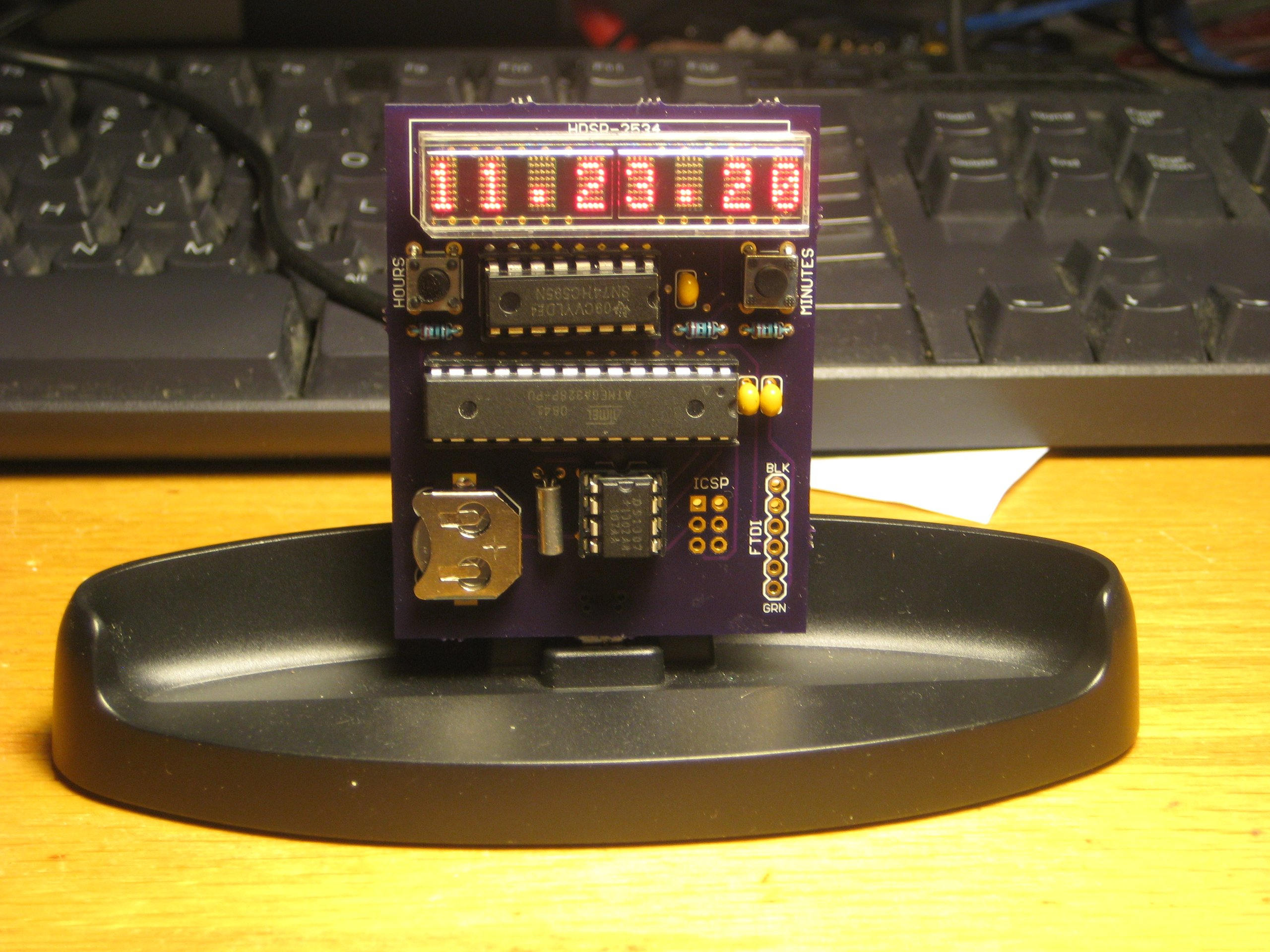 clock kit with hdsp 2534 led matrix display from florinc on tindie. Black Bedroom Furniture Sets. Home Design Ideas