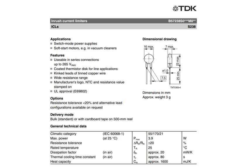 Inrush current limiter (QTY 5)