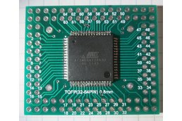 Atmel AVR TQFP ATxmega microcontroller ATxmega128A3U-AU (with USB) on TQFP64 adapter