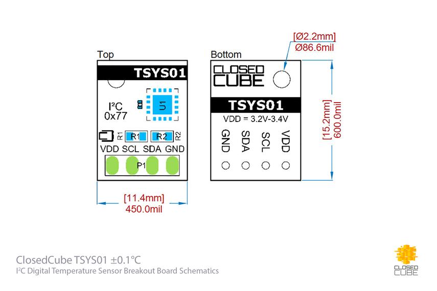 TSYS01 ±0.1°C 24bit ADC Digital Temperature Sensor