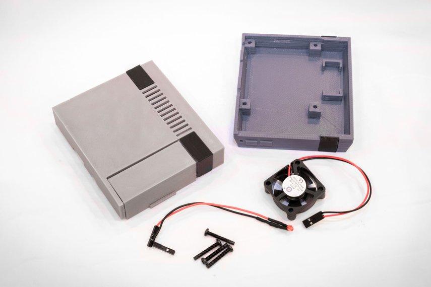 3D Printed NES Case for Raspberry Pi w/ Fan & LED