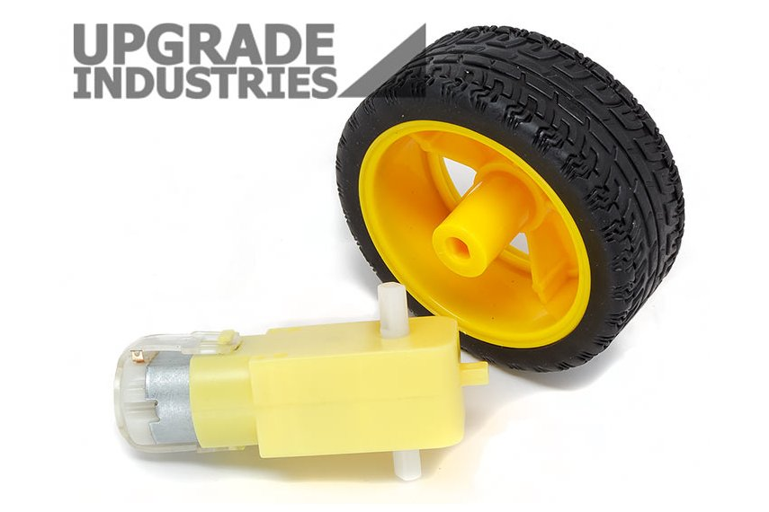 Dc gear motor and wheel for robots from upgradeindustries for Robot motors and wheels