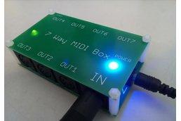 7 way MIDI Thru Splitter unit for synthesizers