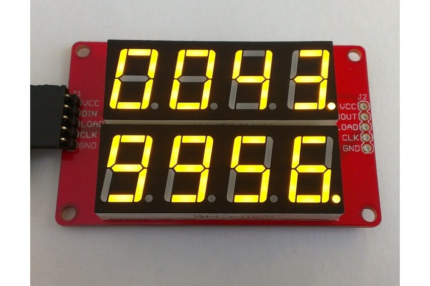 Dual row 4-digit seven segment LED display-YELLOW