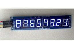 SPI7SEGDISP8.56: Eight digit serial (SPI) seven segment LED display (Blue)