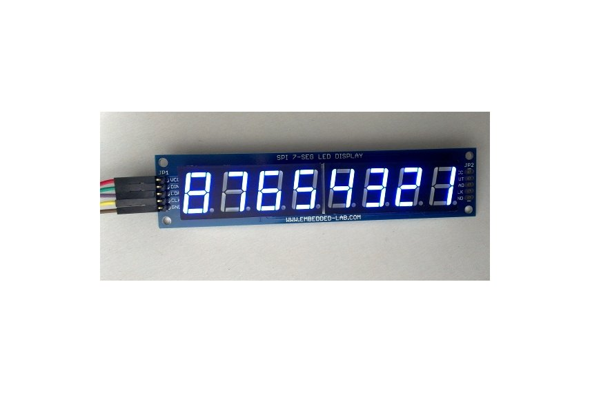 Serial 8-digit 7-segment LED display (Blue)