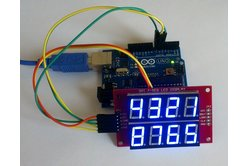 Double row 4-digit seven segment (Blue) LED display module with SPI interface