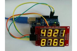 Double row 4-digit seven segment (Yellow) LED display module with SPI interface