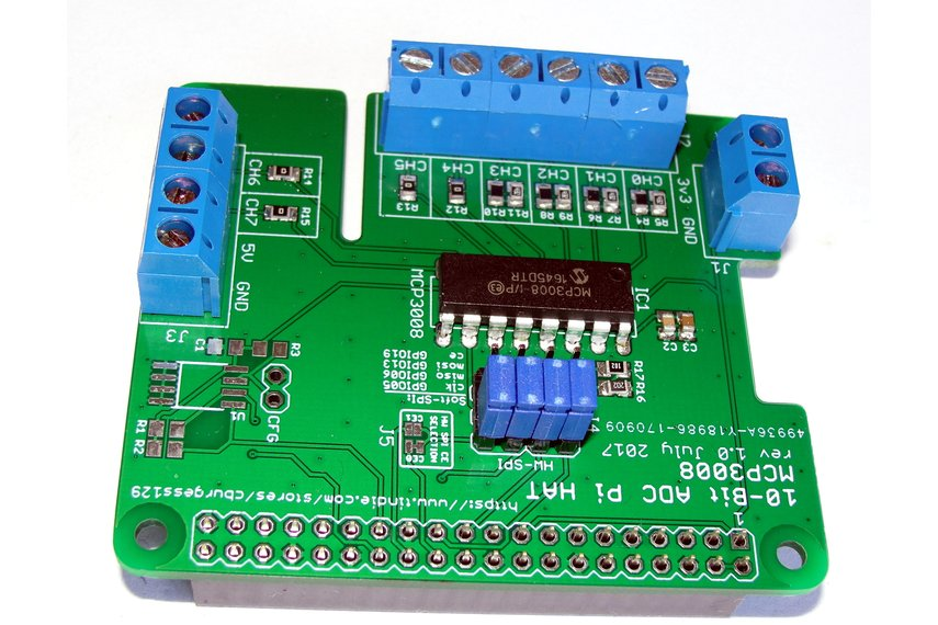 8-Channel ADC Board (HAT) for Raspberry Pi