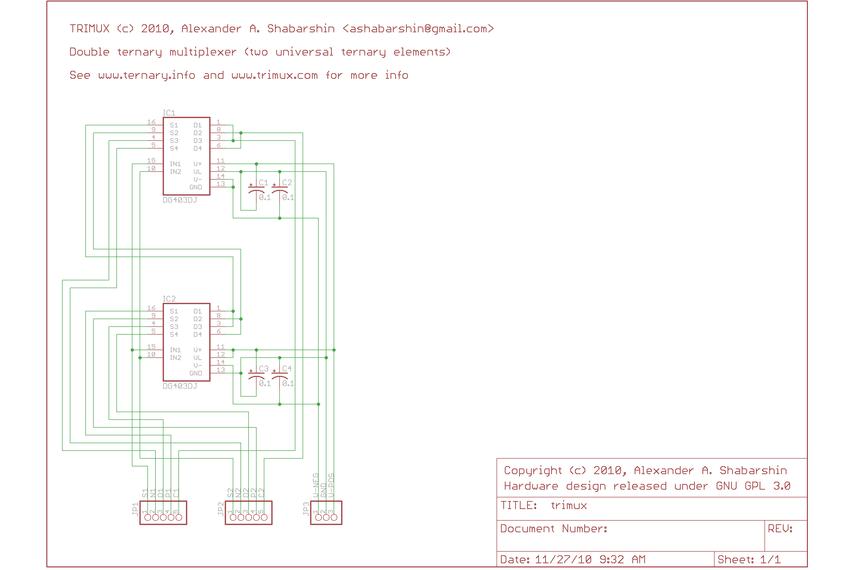 Dual balanced ternary multiplexer/demultiplexer