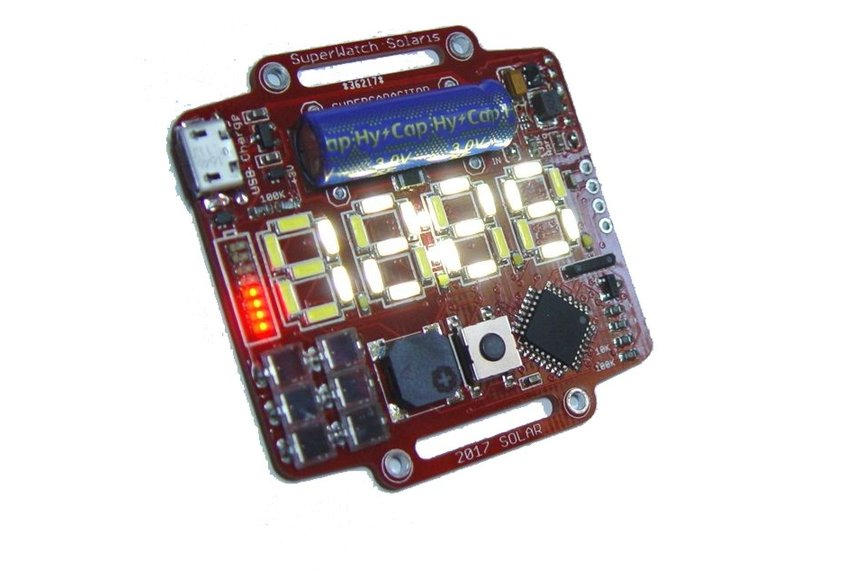 Supercapacitor powered arduino led wrist watch from