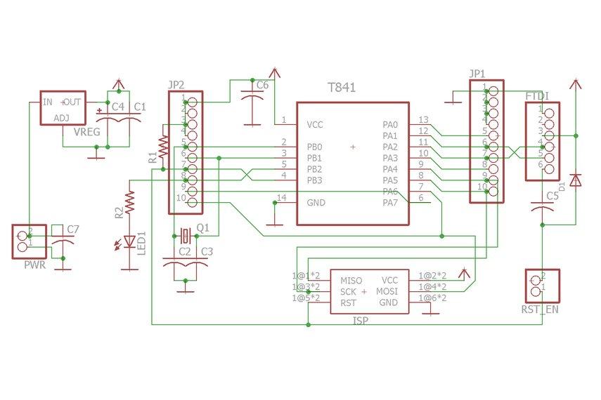 ATTiny841/84 breakout w/serial header (bare board)