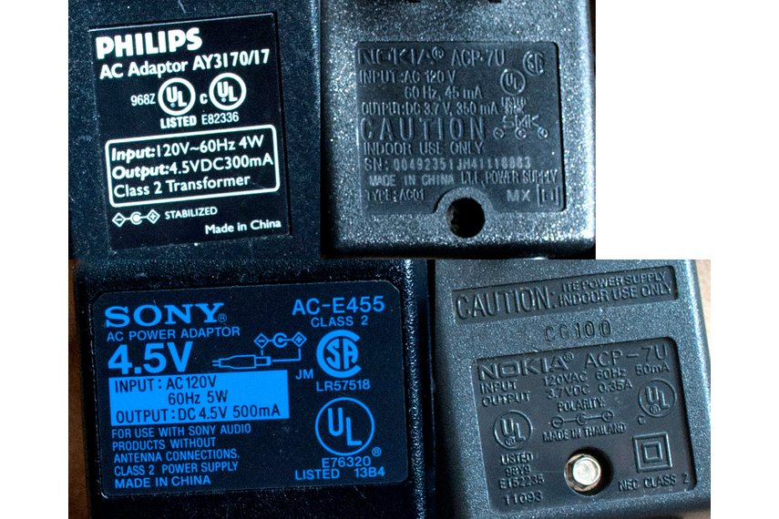 ~3.7-4.5V, 300-500mA AC-DC Transformer Adapters