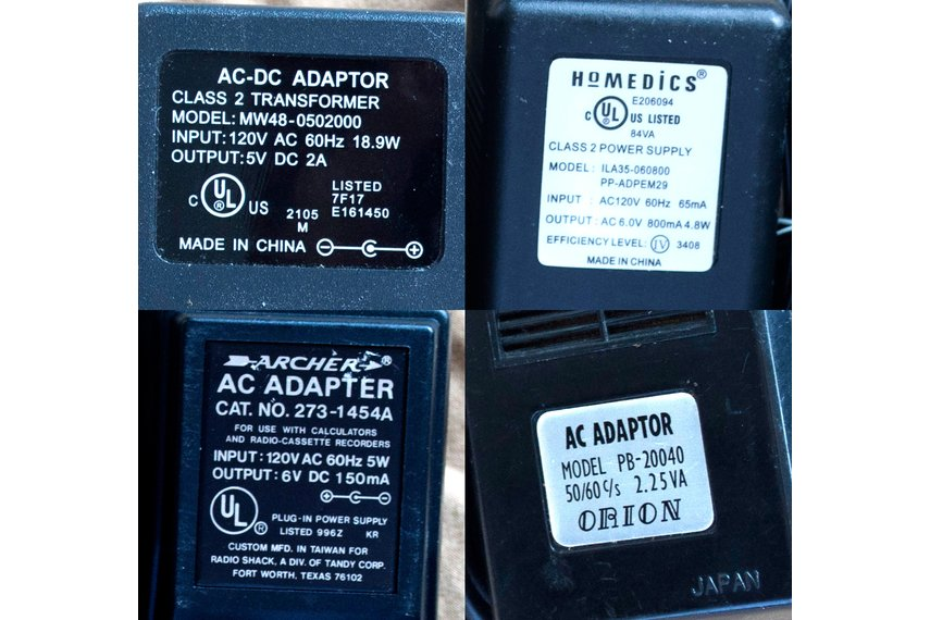 ~5-6V, 0.15-2A AC/AC-DC Transformer Adapters