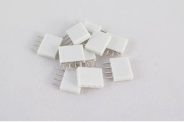 Pack of 10 white female pin headers, 4 pins