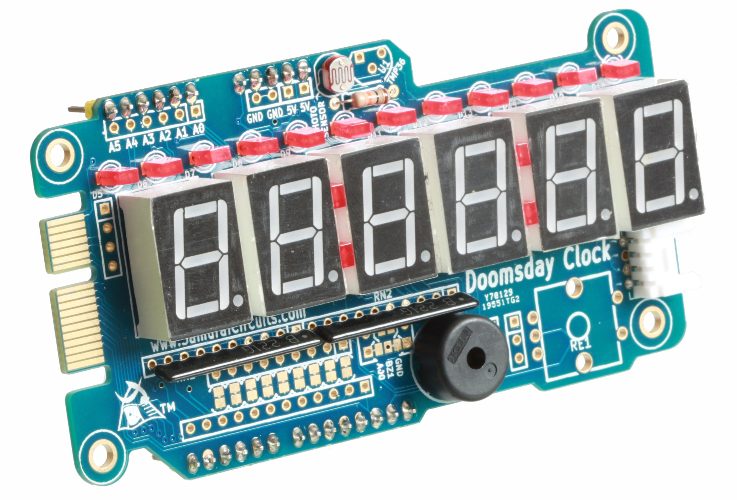 Doomsday clock shield kit for arduino from tullyg on tindie