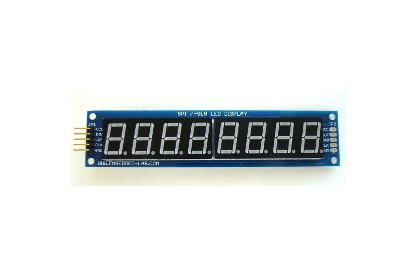 SPI7SEGDISP8.56: Eight digit serial (SPI) seven segment LED display (Yellow)