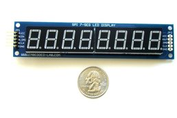 SPI7SEGDISP8.56-1RG: Eight digit serial (SPI) seven segment LED display (Green)