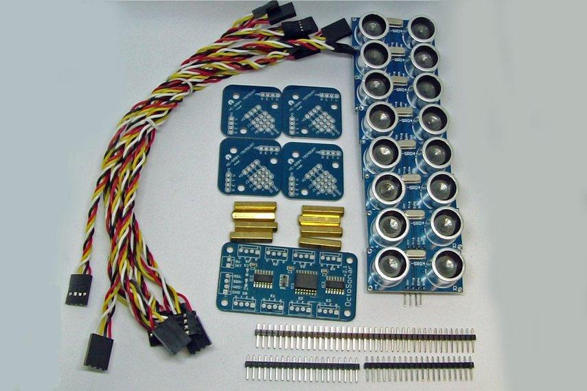Octosonar - connect 8 x HC-SR04 to Arduino
