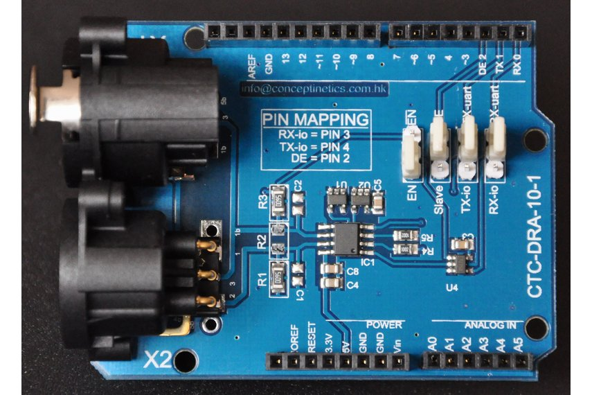 DMX Shield for Arduino (Remote Device Management Capable)