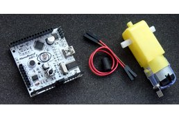 NanoBoard Scratch sensor board + geared motor +  LEGO joint tube